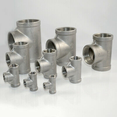 """1/8""""-2"""" Tee 3 way Female T Threaded Pipe Fitting Stainless Steel SS304 NPT"""