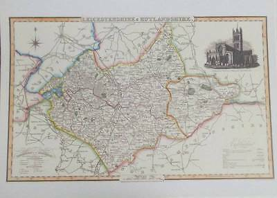 Map of the County of LEICESTERSHIRE AND RUTLAND : 1840 Pigot and Co -  Reproduct