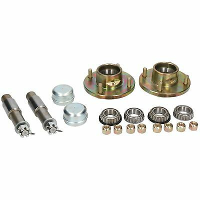 "2 PACK Trailer Trolley Wheel Hubs & Extended Stub Axles 4"" PCD Nuts & Caps"