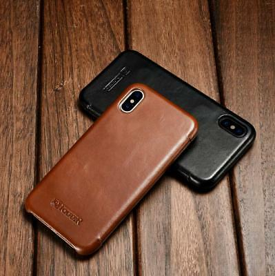 ICARER Magnetic Real Cowhide Leather Case Cover For Apple iPhone XR XS MAX 7 8
