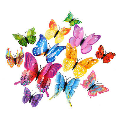 12pcs/Set 3D Butterfly Wall Stickers Art Decal Home Room Decorations Decor Kids