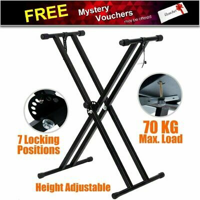 Height Adjustable Keyboard Stand Double Braced X Type Folding Music Piano Holder