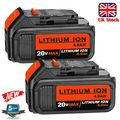 2x 18V 4.0Ah Li-ion Battery for DEWALT 18Volt XR DCB184 DCB182 DCB183 DCB180 4Ah