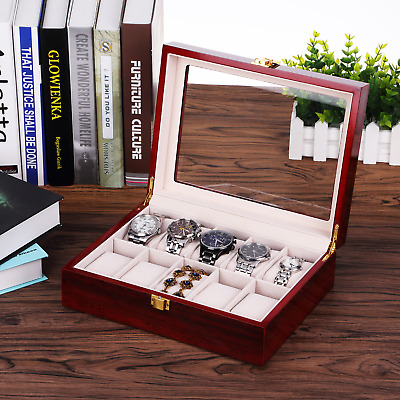 Wooden Watch Box for 10X Watches Jewellery Collection Display Case Glass Visible