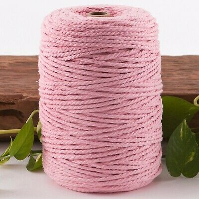 pink 4mm macrame 3 strand rope 1kg 230m coloured string ply cotton cord