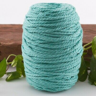 aqua 4mm macrame 3 strand rope 1kg 190m coloured string green blue cotton cord