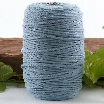 blue 4mm macrame 3 strand rope 1kg 270m coloured string ply light cotton cord