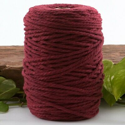 wine 4mm macrame 3 strand rope 1kg 210m coloured string ply cotton cord maroon