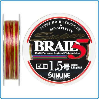 Dyneema Super Galon Sunline PE1 0.165mm 150m kg6.1 Multicolore Spinning Pêche au