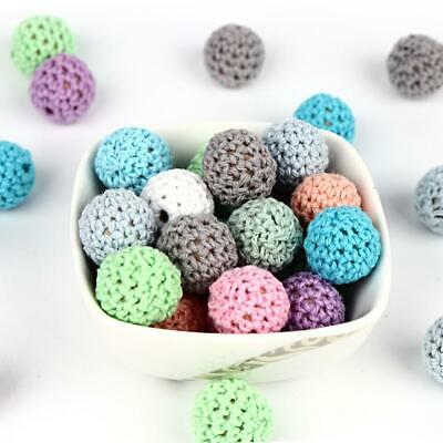 10pc/lot Crochet Round Wooden Beads Mix Handmade 16mm ball Jewelry Gift
