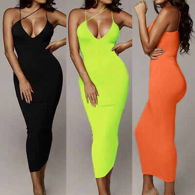 Women Neon Maxi Dress Sleeveless Bodycon Backless Straps Deep V-Neck Sexy Dress