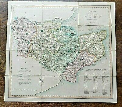 1804 Kent County Map C Smith Old Antique Vintage London Canterbury England UK