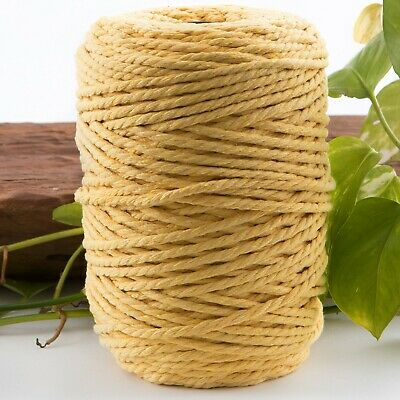 lemon 4.5mm macrame 3 strand rope 190m coloured string cotton cord yellow 4mm