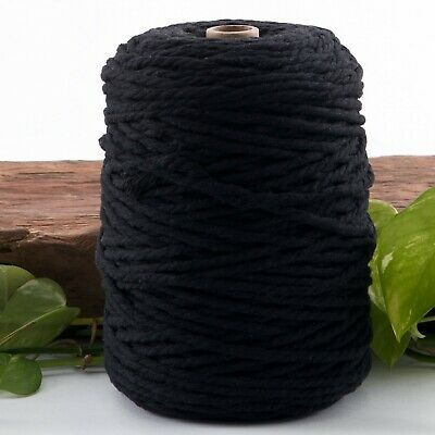 black 4.5mm macrame 3 strand rope 1kg 162m coloured string cotton cord twist 4mm