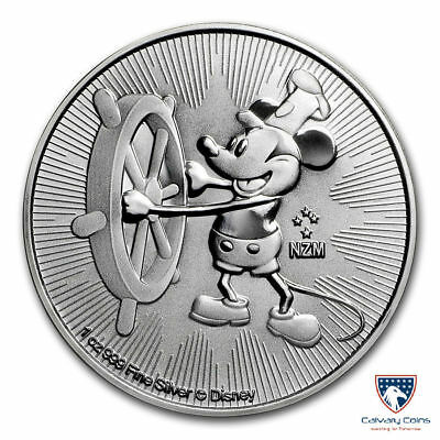 2017 1 oz New Zealand Silver Niue $2 Disney Mickey Mouse Steamboat Willie (BU)
