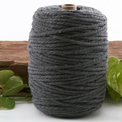 dark grey 4.5mm macrame 3 strand rope 1kg 180m coloured string  cotton cord 4mm