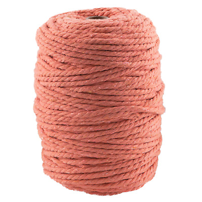 5mm coral macrame rope 1kg 170m coloured 3ply cotton cord string strand twisted