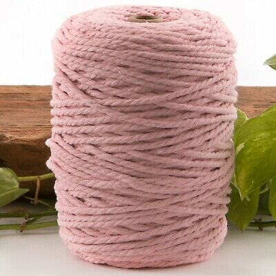 5mm light pink macrame rope 1kg 170m coloured 3ply cotton cord string strand