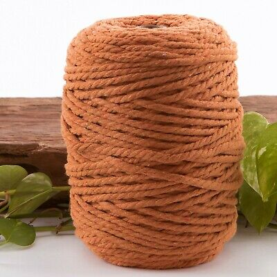5mm burnt orange macrame rope 1kg 160m coloured 3ply cotton cord string strand