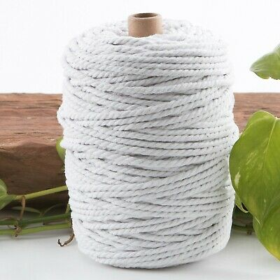5mm white macrame rope 1kg 130m coloured 3ply cotton cord string strand twisted