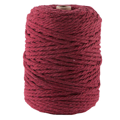 5mm wine macrame rope 1kg 170m coloured 3ply cotton cord string strand maroon