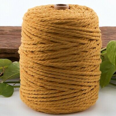 5mm mustard macrame rope 1kg 165m coloured 3ply cotton cord string strand twist