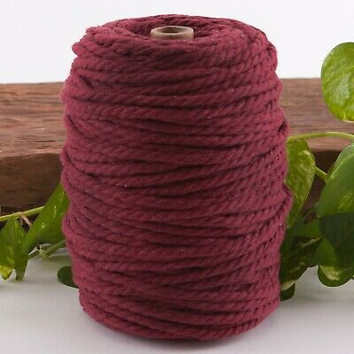 6mm wine macrame rope 1kg 130m coloured 3ply cotton cord string strand twisted