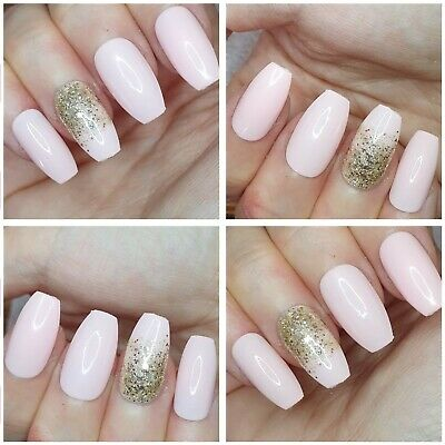 New!Light Pink with Gold Glitter Fade x 20 Medium coffin shape press on nails