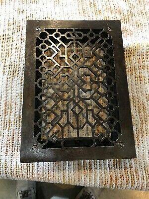 J 23 Antique cleaned and lacquered heating grate 9.75 x 13 5/8