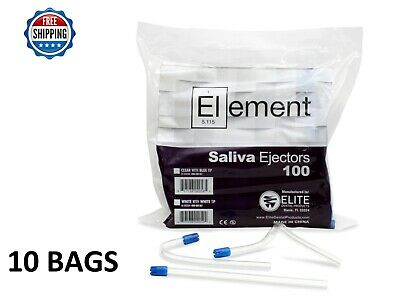 """1000 PC ELEMENT Saliva Ejector CLEAR w/BLUE Tip Bendable Dental Disposable 6"""""""