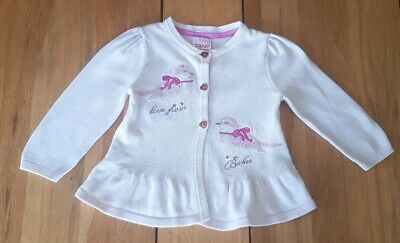 Ted Baker Baby girls Pale Pink Frill cotton cardigan 3-6 months.