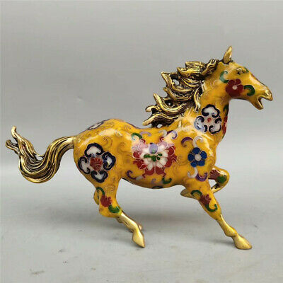 Collection old Chinese copper gilt Cloisonne Handmade Zodiac horse statue