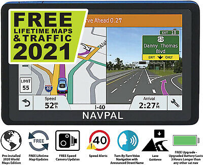 SLIMLINE SAT NAV GPS Navigation, 5 Inch Bluetooth +2019 UK EUROPE +FREE Updates