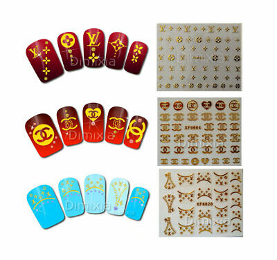 3D Classic Brand Designer Logo Nail Arts Sticker Sheet Decal Manicure Tips Gold