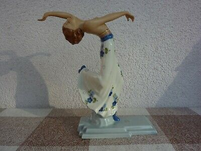 Royal Dux Art Deco Figur Tänzerin # 3602/0 farbig TOP