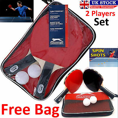 New Table Tennis Complete Set 2 Paddle Bats 2 Ping Pong Balls Family Adults Game