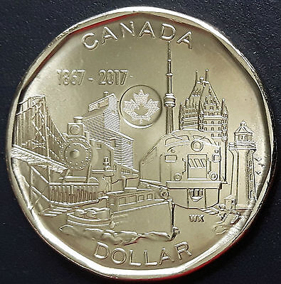 L61 Canada $1.00 Coin Loonie 2017 150 Anniv./Achievements - Unc From A Mint Roll