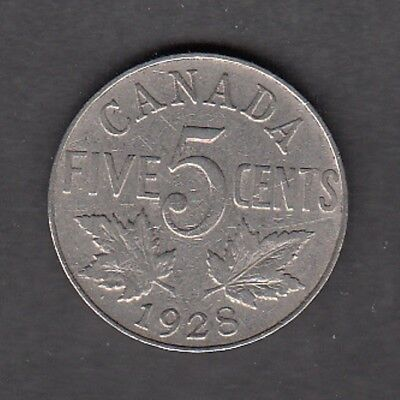 F190 Canada 5 Cents Coins 1928 - Very Good To Fine $10.00