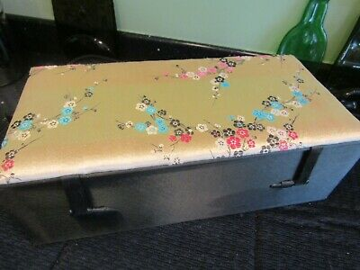 Large Gold Silk Cover Embroidery Chinese Beijing Dun Huang Jewellery/Trinket Box