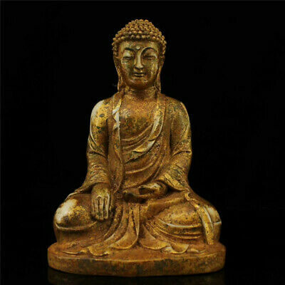 Collection old Temple jade gilt Handmade carved Shakyamuni Buddha Buddha statue