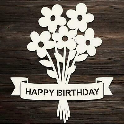 Happy Birthday Banner Flower Metal Cutting Dies Scrapbooking Craft Die Stencil