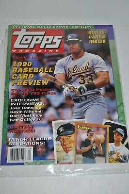 Topps Magazine 1 Winter 1990 Premier Issue Complete With Cards Nm Baseball