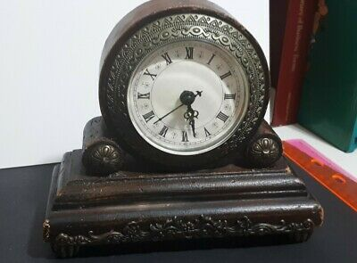 Vintage Wood shelf Clock Roman Numericals Quartz Rebuild from old Clocks WORKING