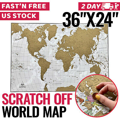 Scratch Off World Map USA Travel Away Poster Large Scratch Out It Country Flags