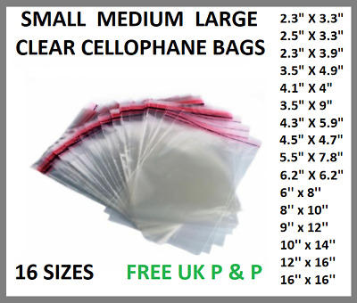 SMALL Clear CELLO BAGS Cellopane DISPLAY Garment Self Adhesive Jewelery Crafts