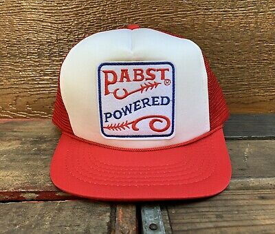 5a56eb403e01fe PABST Blue Ribbon PBR Beer Vintage 80s Red & White Snapback Trucker Hat