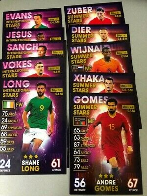 Match Attax 101/5 international and 5 summer stars/very good condition/