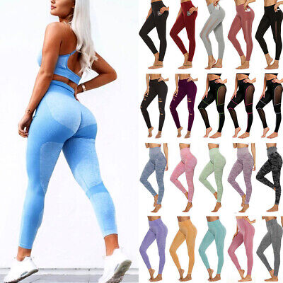 Seamless Yoga Pants Womens High Waist Gym Sportswear Running Fitness Leggings M8