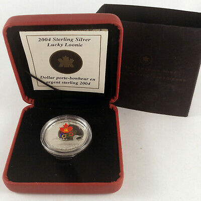 2004 Canada 1 Dollar Lucky Loonie Sterling Silver Coin