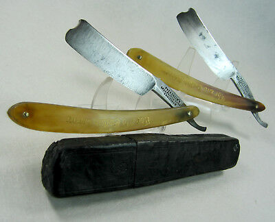 "Pair Antique Frederick's ""Celebrated"" Straight Razor Pre-1891 6/8"" w Double Box"